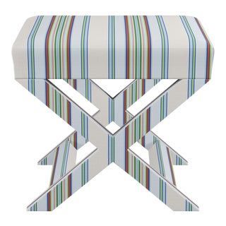 X Bench In Chroma Austin Stripe By Old World Weavers For Sale