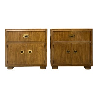 Vintage Campaign Nightstands by Drexel Furniture Company - a Pair For Sale