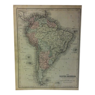 1880s Antique Mitchell's Modern Atlas Map Of South America For Sale