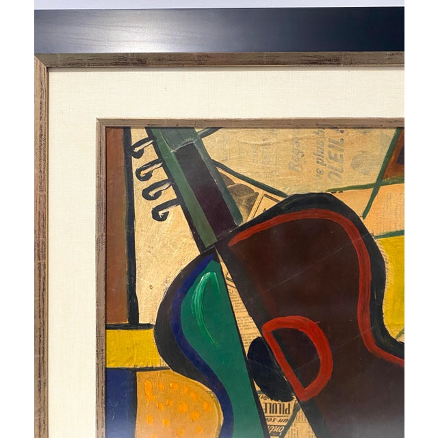1956 Cubist Guitar J Lacoste Mixed Medium on Board Painting For Sale - Image 4 of 13
