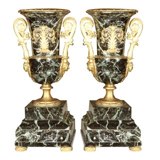 Neoclassical Marble Urns - A Pair For Sale