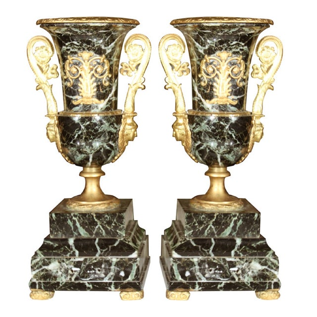 Neoclassical Marble Urns - A Pair - Image 1 of 6
