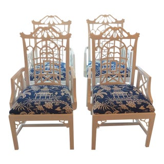 American of Martinsville Chinese Chippendale Lacquered Pagoda Arm Dining Chairs - a Pair