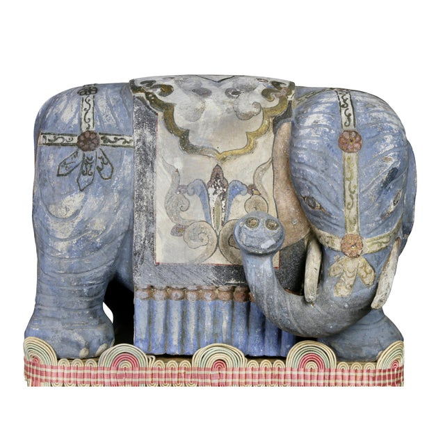 Asian Chinese Painted Wood Elephants on Brackets - a Pair For Sale - Image 3 of 13
