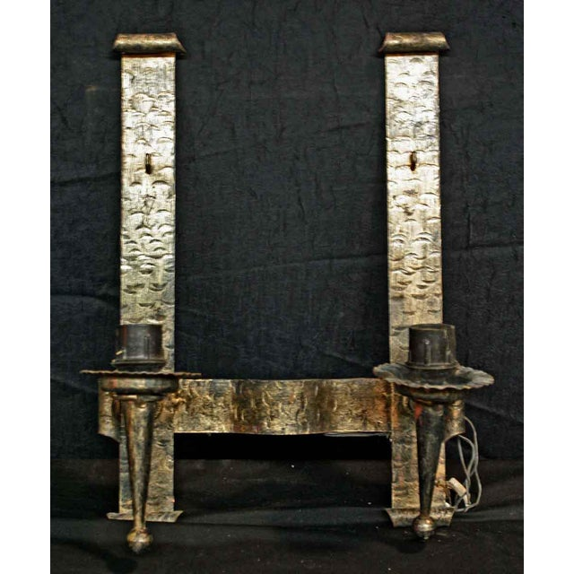 Gothic Gothic Hammered Cast Iron Wall Sconces - A Pair For Sale - Image 3 of 4