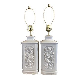 Mid Century Chinoiserie Pagoda Style White Floral Ceramic Lamps - A Pair For Sale