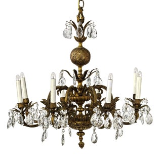 20th Century Gothic Revival Eight Arm 'Pineapple' Brass and Crystal Chandelier