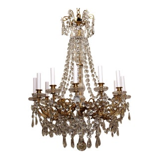 Antique French Late 19th Century Baccarat Crystal and Gold Bronze 12 Light Chandelier For Sale