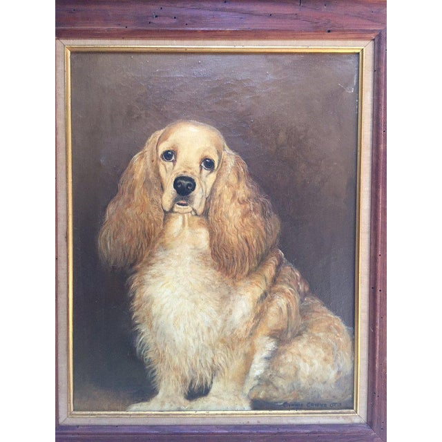 Vintage Mid-Century Cocker Spaniel Portrait Oil Painting For Sale - Image 4 of 13
