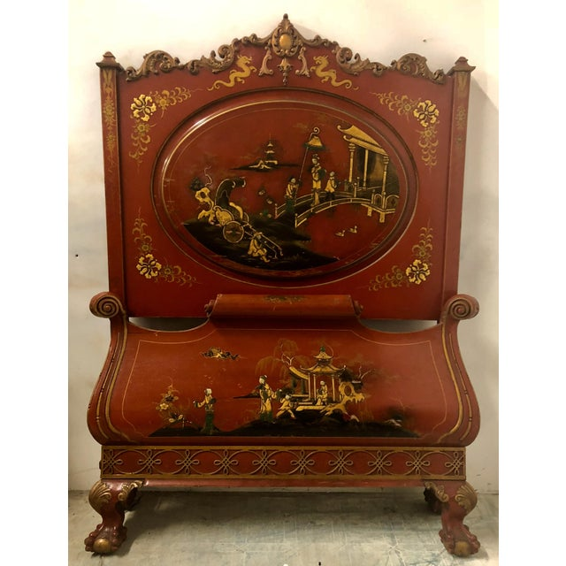 Pair of English Chinoiserie Twin Beds For Sale - Image 4 of 9
