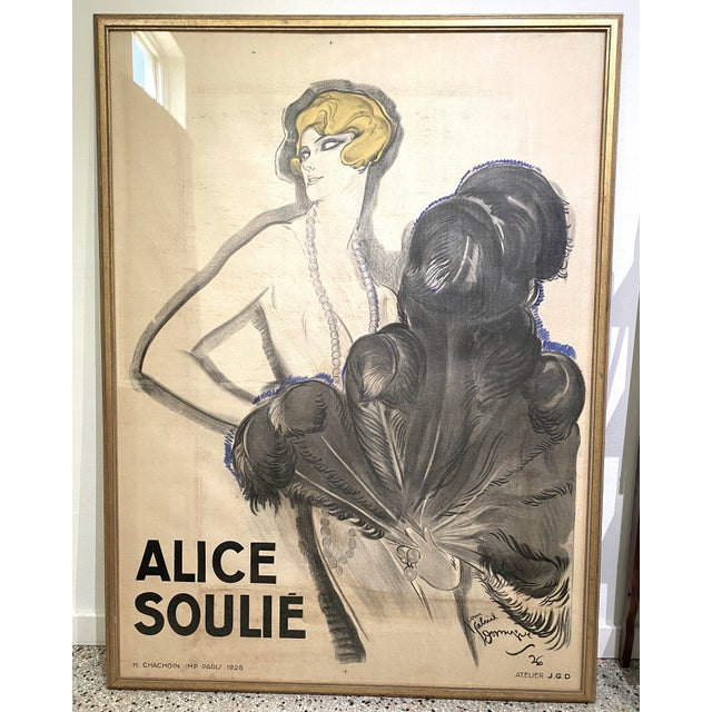 """Antique 1926 Multimedia Poster by Jean Gabriel Domerge """"Alice Soulie"""" Watercolor Gouache Charcoal on Paper With Christie's Coa For Sale - Image 11 of 13"""