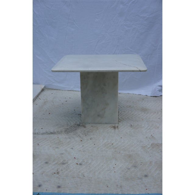 Mid-century modern carrara marble square side table - 3 side tables available for individual purchase. Beveled edge square...