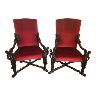 Italian Baroque Carved Arm Throne Chairs. Figural Carvings - a Pair For Sale