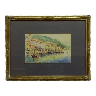 """Original """"Setting Sail"""" Framed and Matted Watercolor Painting by Nalhauser"""