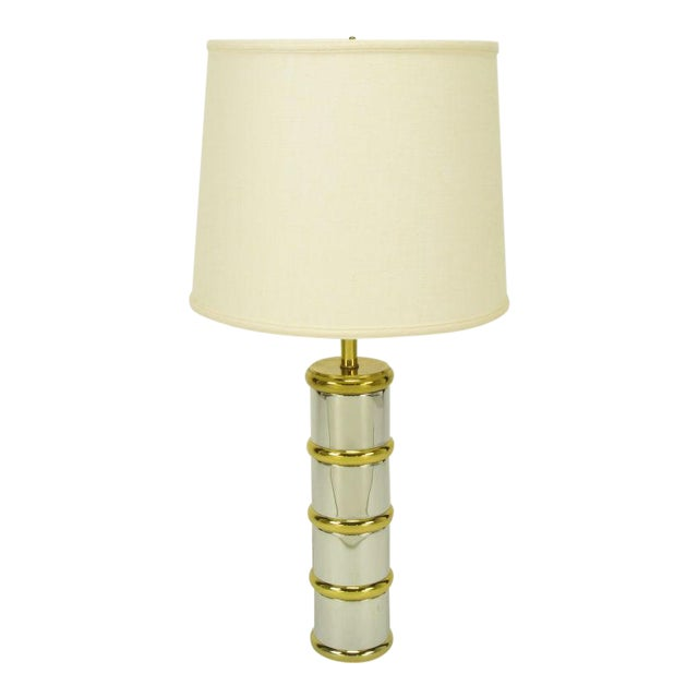 Chrome & Brass Segmented Column Table Lamp. For Sale