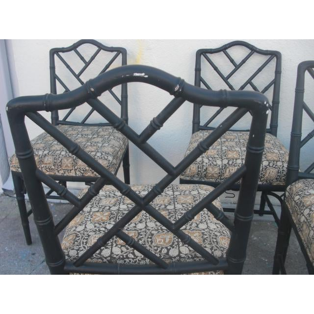 Wood Vintage Mid Century Faux Bamboo Chippendale Dining Chairs- Set of 6 For Sale - Image 7 of 11