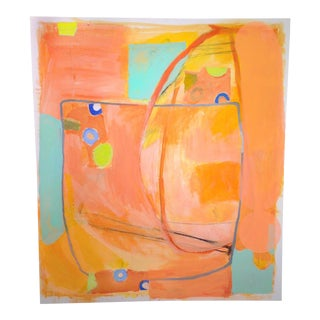 Abstract Large Orange Painting / Collage For Sale