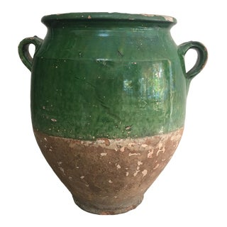 19th Century French Green Glazed Confit Pot For Sale