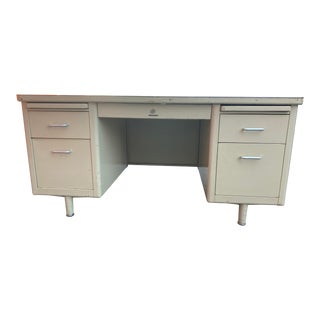 Vintage Steelcase Metal Tanker Desk For Sale