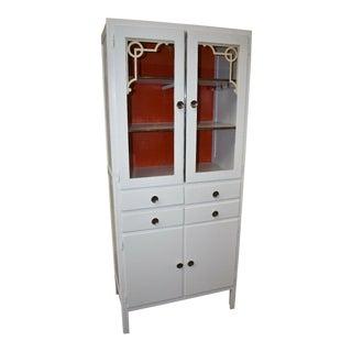 Vintage Hoosier Style Art Deco White Kitchen Cabinet For Sale