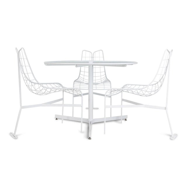 """White 1985 Vladimir Kagan """"Capricorn"""" Outdoor Dining Chairs and Table, Restored For Sale - Image 8 of 9"""