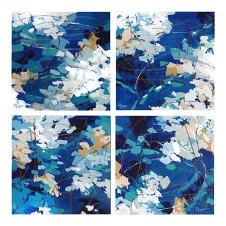 """""""Ripples in Still Water"""" Contemporary Abstract Acrylic Paintings - Set of 4 For Sale"""