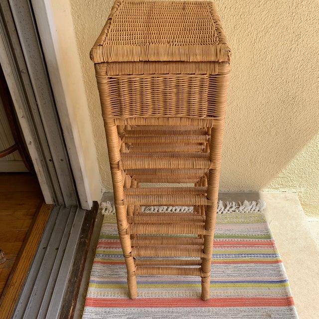 Wicker Boho Cottage Wicker Wine Storage & Drawer For Sale - Image 7 of 11