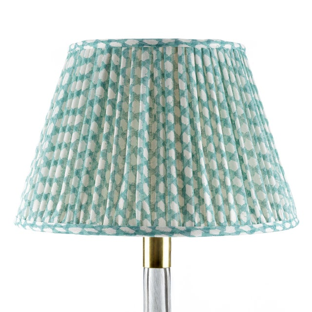 Fermoie Gathered Linen Lampshade in Turquoise Wicker, 16 Inch For Sale - Image 4 of 4