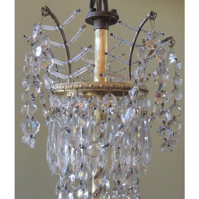 Early 20th C French Bronze and Crystal Chandelier For Sale - Image 4 of 8