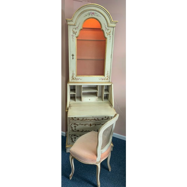 20th Century Cottage John Widdicomb Hand Painted Secretary With Chair - 2 Pieces For Sale - Image 13 of 13
