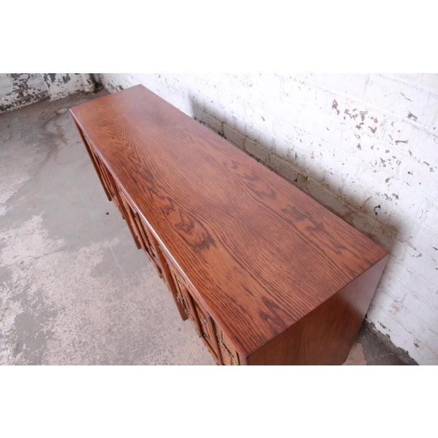 Wood Lane Pueblo Brutalist Mid-Century Modern Oak Long Dresser or Credenza, 1970s For Sale - Image 7 of 13
