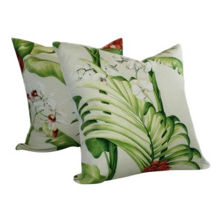 Custom Orchid Garden Linen Pillows - A Pair