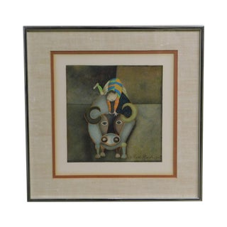 """Framed Limited Edition Lithograph """"Boy on a Bull"""" by Graciela Rodo Boulanger For Sale"""