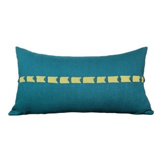 Contemporary Teal Linen Oblong Pillow For Sale