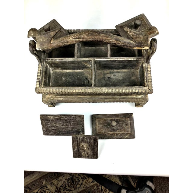 1900s Asian Hand Carved Wood Spice Box For Sale - Image 9 of 11
