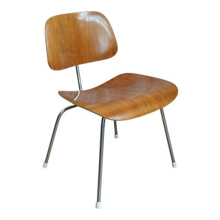 Vintage Mid 20th Century Eames Dcm Molded Plywood and Chrome Chair For Sale