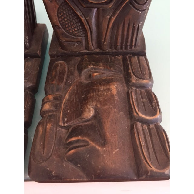 Vintage Wood Carved Aztec Bookends - A Pair - Image 5 of 8