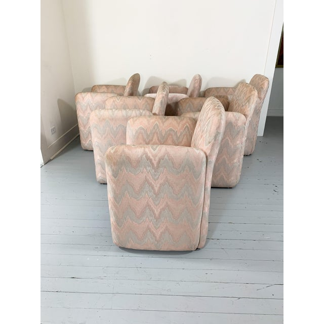 Set of 6 vintage flame stitch dining arm chairs by Levone. Flame stitch pattern is in pink tones. Chairs are free of tears...