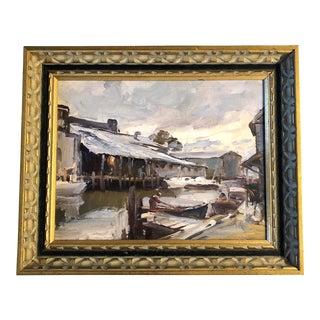 Vintage Impressionist Gloucester Ma Fishing Village Original Painting For Sale