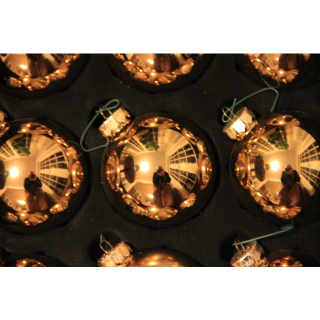 Gold Glass Christmas Ornaments - Set of 14 - Image 3 of 4