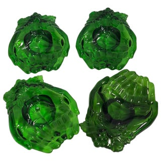 Vintage Green Molded Glass Dishes, 1960s, Set of Five For Sale