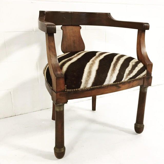 Walnut Zebra Seat Barrel Chair - Image 2 of 5