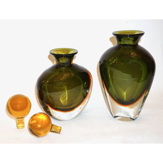 Contemporary Formia Modern Italian Ovoid Yellow Green Orange Murano Glass Bottles - a Pair For Sale - Image 3 of 11