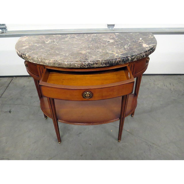 Late 20th Century Directoire Style Marble Top Demi-Lune Console Table For Sale - Image 5 of 9