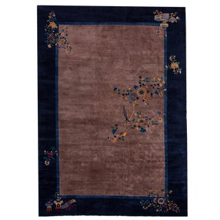 Antique Chinese Art Deco Wool Rug 10 Ft 2 in X 14 Ft 1 In For Sale