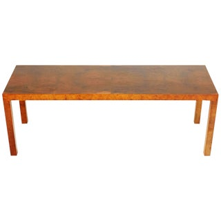 1980s Milo Baughman for Directional Burled Walnut Low Console For Sale
