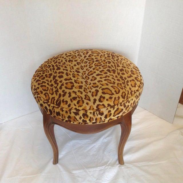 Wood Vintage Italian Leopard Upholstered Vanity Stool For Sale - Image 7 of 13