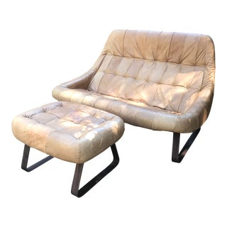 "1970s Vintage Percival Lafer ""Earth"" Loveseat and Ottoman For Sale"