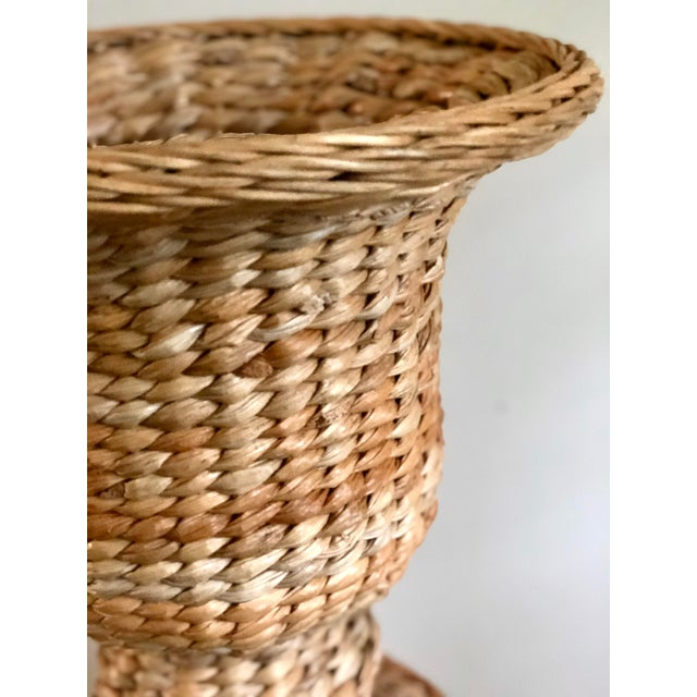 Late 20th Century Vintage Rattan Urn Shaped Pedestal Plant Stand For Sale - Image 5 of 9