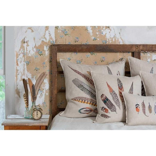 Pheasant Feather Right Pillow For Sale - Image 5 of 10